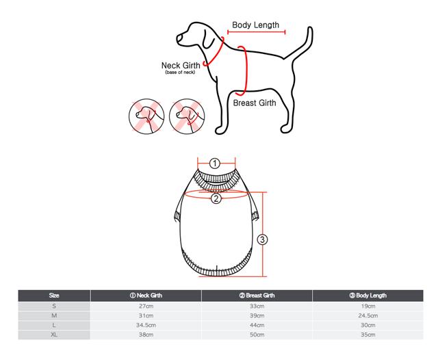 Storleksguide: Dean hundtröja med luva & integrerad sele